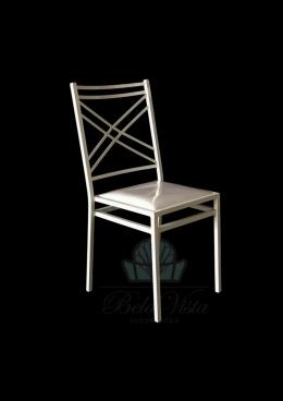 Cadeira de Ferro Empilhável Duplo X Branca